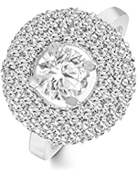 Classic Royal Look Diamond Studded Rhodium Plated Alloy Cz American Diamond Finger Ring For Women & Girls [CJFR1278R]