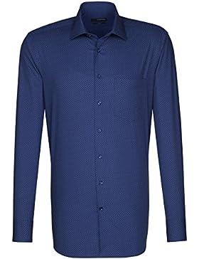 Seidensticker Herren Langarm Hemd Splendesto Regular Fit French Kent Print blau / weiß geblümt 110130.18