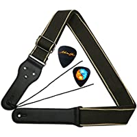 MOREYES Correa de guitarra con extremos de cuero y bolsillo para guitarra eléctrica acústica clásica, marrón