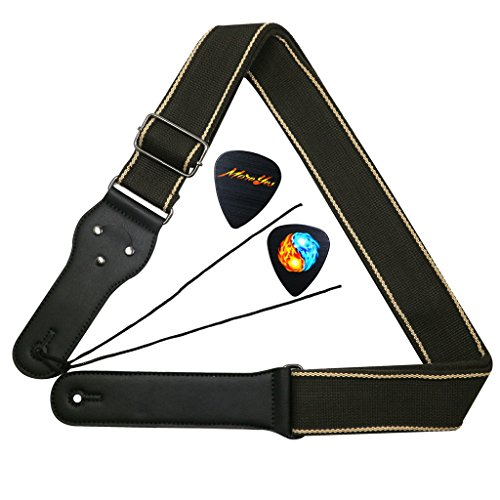 moreyes Gitarrengurt mit Leder Enden und Pick Pocket für Akustik Klassik Gitarre braun