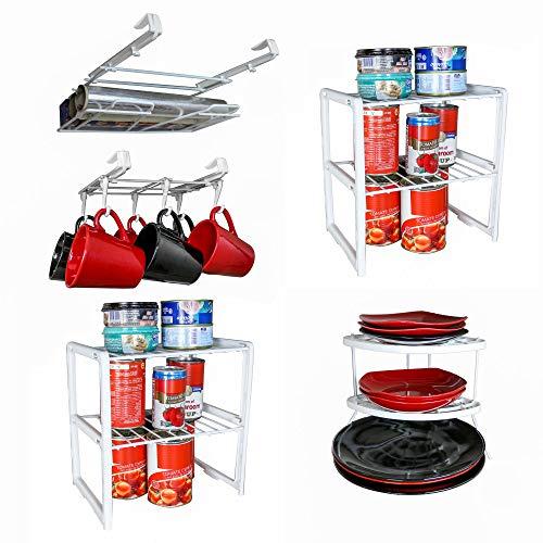 5Stück Organizer Set Tasse Rack, 2Tisch-Sets und Halterung, 1Wickeln-164036403Double Schrank Regal, 1Ecke Teller Rack (Lebensmittel-speicher-kabinett)