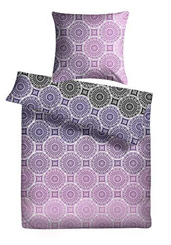 Carpe Sonno Kuschelige Biber Bettwäsche 240 x 220 cm in lila mit Ornamenten - Paar-Bettwäsche mit Reißverschluss aus 100% Baumwolle Flanell - edles Bettwäsche Set 3-TLG mit 2 Kopfkissenbezügen