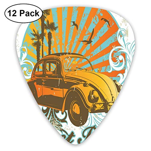 Guitar Picks - Abstract Art Colorful Designs,Summer Inspired Drawing With Retro Car Palm Trees Sunset Beach And Sun Rays,Unique Guitar Gift,For Bass Electric & Acoustic Guitars-12 Pack