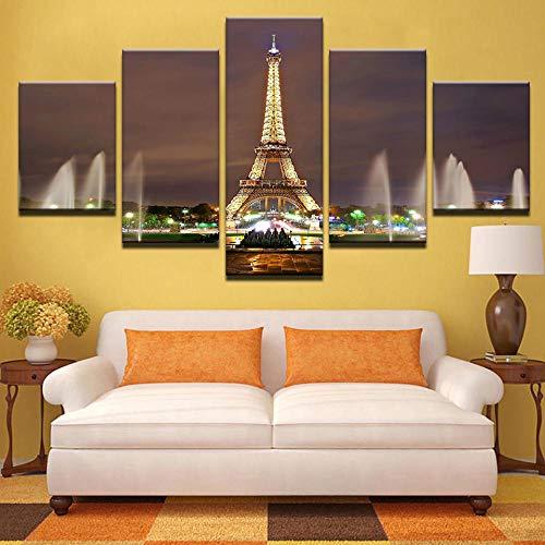 WLHZNB Impresiones Lienzo 5 Paneles De La Torre Eiffel