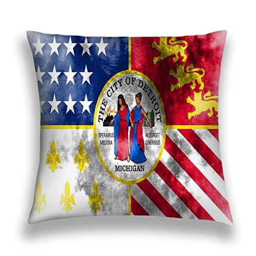 zexuandiy Kissenbezüge Pillow Case Sofa Bed Pillow Case Cover 18 X 18 Inch Twin Sides Detroit City Smoke Flag Michigan State United stat