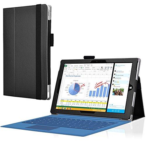 UC-Express Microsoft Surface Pro 3 Cover Tasche mit praktischer Stand Funktion Case aus robustem Kunstleder kombiniert Schutz und Design für Ihr Microsoft Surface Pro 3 Hülle Case Schwarz
