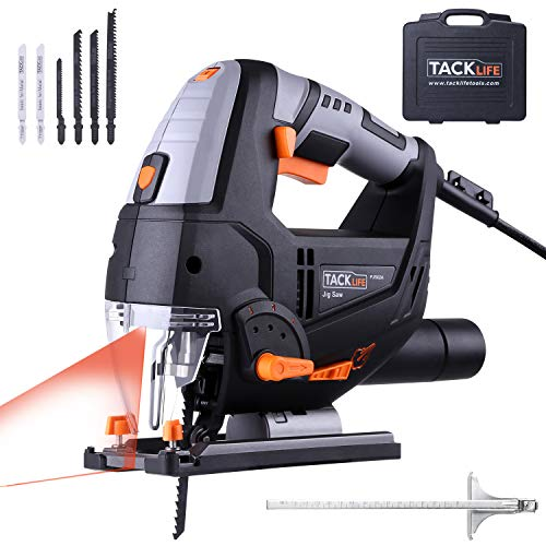 TACKLIFE 800W Jigsaw with Laser & LED, 6 Blades, Variable Speed (1-6), 22mm  Stroke Height, Cutting Angle -45to 45, 3Meter Core Length | PJS02A