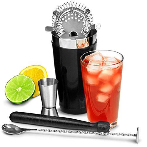 bar@drinkstuff Vinylworks Boston - Set per preparare cocktail composto da shaker, pestello, bar spoon, colino e misurino, colore: nero