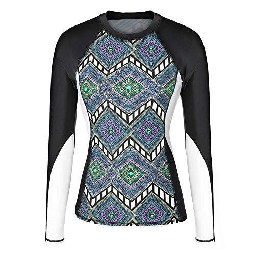 Tbest Damen Langarm Rashguard Shirt UV-Schutz Shirt Floral Bedruckte Surfen Badeanzug, Casual Runde Kragen Tauchanzug Slim-Fit Surf Shirt Badeshirts für Frauen(L)
