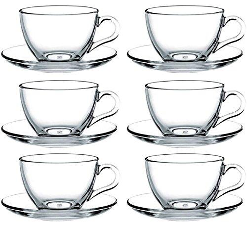 Tazzine da caffè con piattini basic, set da 12 pezzi totali