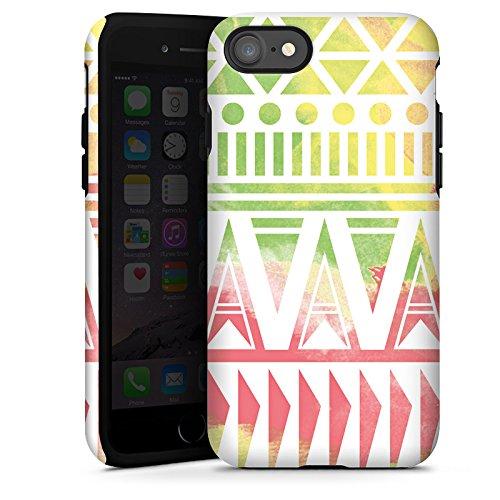 Apple iPhone X Silikon Hülle Case Schutzhülle Muster Bunt Ethno Tough Case glänzend