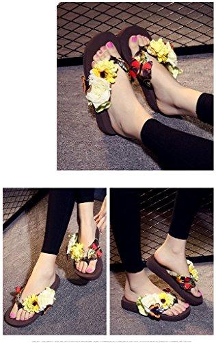 Auspicious beginning Flip-flop antisdrucciolevoli della spiaggia del sandalo di estate delle donne con il fiore & la farfalla marrone-2