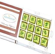 Ghasitaram Gifts Diwali Gifts Sweets- Ghasitaram's Pista Sugarfree Mawa Barfi in White