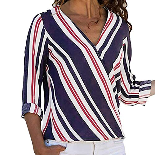 Easy Go Shopping Frauen Casual Langarm V-Ausschnitt Multicolor Gestreiften Unregelmäßige Bluse Tops T-Shirt (Farbe : Marine, Größe : ()