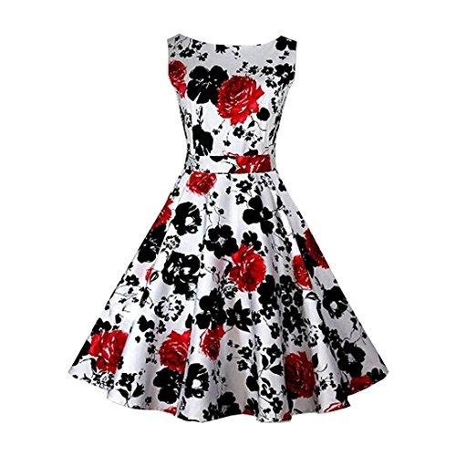 partiss femmes imprimé floral vintage classique de 1950Swing Rockabilly robe pour soirée déguisée red