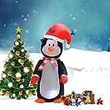 COSTWAY LED Pinguin aufblasbar Weihnachtsdeko beleuchtet Weihnachten Ladendeko Weihnachtsfigur Weihnachtsdekofigur 122cm mit installierter Gebläse