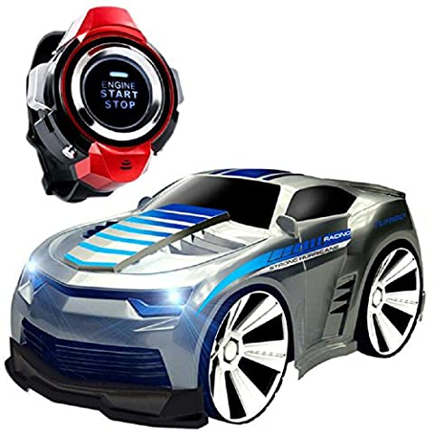 Wireless RC Racing Car, Koiiko Voice Command Car 2.4GHz High Speed Rechargable Wireless Remote Control Car Mini Voice Control Vehicles RC Car Voice-activated Car with Smart Watch Electric Vehicles Toys for Child Kids Birthday Gift Silver