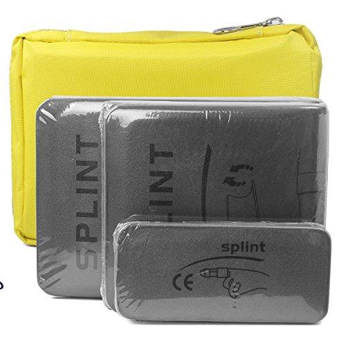 Schrank Leg (Splints Schiene: 3-Size Pack Made for Finger Neck, Leg, Knee, Foot, Wrist, Hand, Arm Injuries with a handbag (Grey))