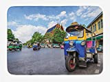Soefipok Tappetino da Bagno Tailandese, Bangkok City Tourism TUK TUK colorato Trasporto Strade trafficate Cielo Sereno Paesaggio Urbano, Peluche Tappeto Decorativo da Bagno con Supporto Antiscivolo