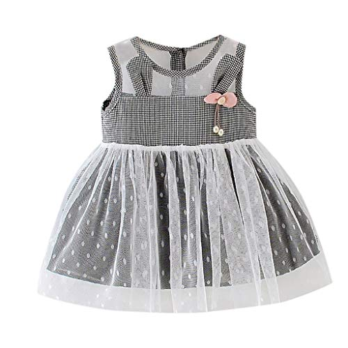 Dresses for Girls Mädchen Kleider Pwtchenty Beugen Netting Plaid Druckte Ohren Partei Dress Clothing Prinzessin Kleid Tüll Girls Sale ()