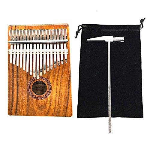 Thumb Piano 17 Tasti Mbira Kalimba Finger Piano Percussion Keyboard Strumento Musicale portatile Standard internazionale C Tune with Tune Hammer By Jeerui (Mogano + Cavo adattatore)