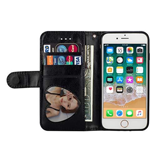 LaVibe Coque iphone 7, iphone 8 Housse en Cuir PU Leather Etui Portefeuille à Rabat Glitter Clapet Support Fermeture éclair Porte Video Stand, Flip Wallet Protective Case Cover–Noir