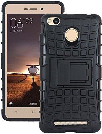 Inktree® Hard Armor Hybrid Rubber Bumper Flip Stand Rugged Back Case Cover for Xiaomi Redmi 3s Prime/Redmi 3 Pro/Redmi 3s/Redmi 3X [Black]