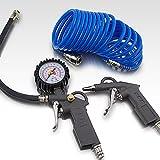 BITUXX® 3 teiliges Druckluft Zubehör Set für Kompressor Schlauch Reifendruck Ausblaspistole