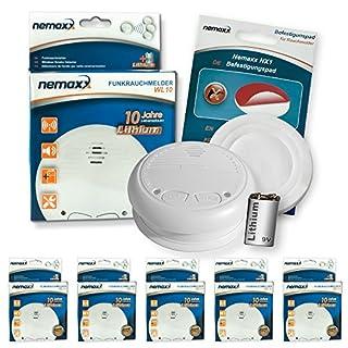 5x Nemaxx WL10 Wireless Smoke Detector - with lithium battery fire alarm smoke alarms fire protection +5x Nemaxx NX1 Magnet - wireless smoke alarms fire protection