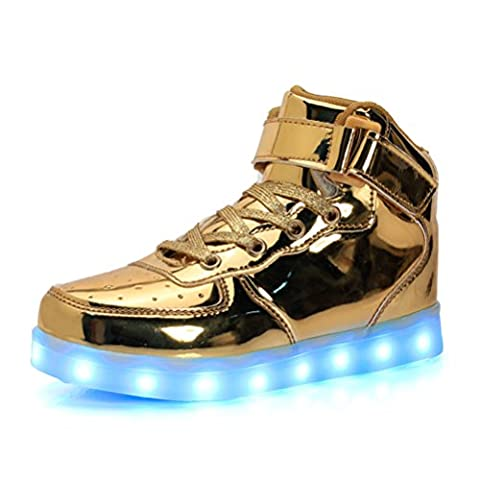 UBFen Chaussures LED Lumineuses Enfant Adulte Montantes 7 Couleur USB Charge Chaussure Lumineuse Clignotant Lumineux Lumière Sports Baskets Garcon Fille Homme Femme Or 44