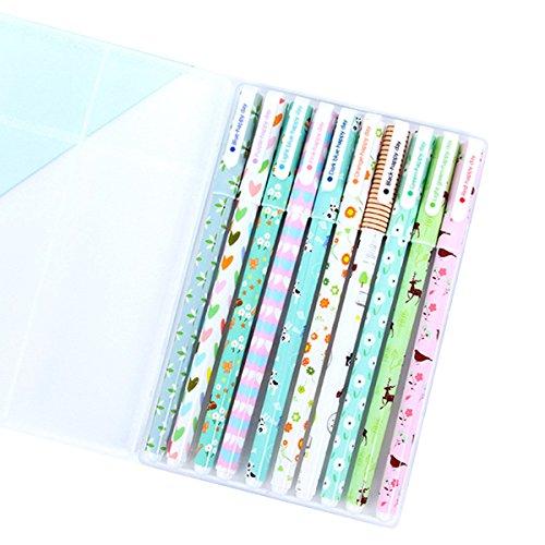 NectaRoy Kugelschreiber in einer Box 10 verschiedenfarbig Multi Farben Bunte Gel Ink Pen koreanische Karikatur Einweg-Kugelschreiber Gelschreiber