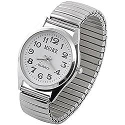 sourcingmap® Frauen Damen Metall Elastische Band Arabisch Ziffer Zifferblatt Armbanduhr