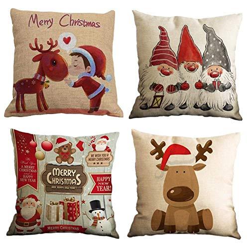 Gspirit 4 Stück Kissenbezug Frohe Weihnachten Dekorative Kissenhülle Winter Zwerge Elk Weihnachtsmann Muster Baumwolle Leinen Werfen Sie Kissenbezüge 45x45 cm