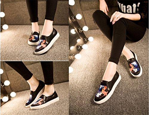 QIYUN.Z 3D De La Mode Des Femmes Imprimes Roche Vachette Plat Patin Casual Mocassin Chaussures Simples Cerfs Noirs
