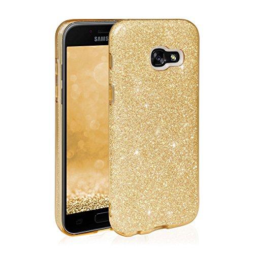 EGO ® Hülle Glitzer Schutzhülle für Samsung Galaxy J3 2017 J330, Rot Back Case Bumper Glänzend Transparente TPU Bling Weiche Glamour Handy Cover Lipgloss Gold