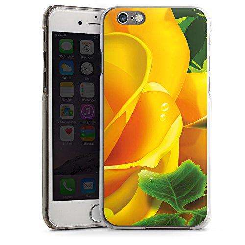 Apple iPhone 4 Housse Étui Silicone Coque Protection Rose Fleur Jaune CasDur transparent