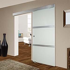 Tectake porte coulissante en verre pour int rieur for Largeur porte interieur