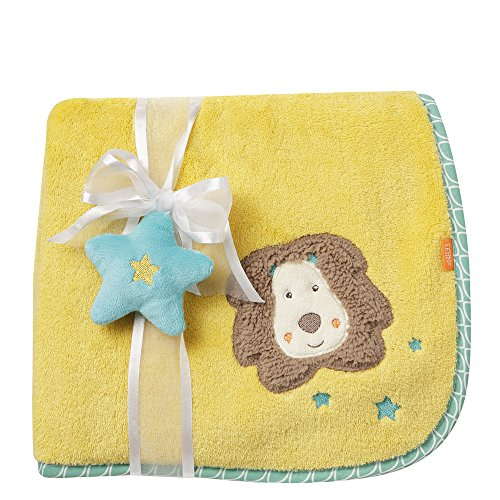 Fehn 066340 Kuscheldecke Löwe / Kuschelige Schmusedecke für Babys und Kleinkinder ab 0+ Monaten - zum Kuscheln, als Krabbelunterlage oder Schnuffeltuch, Maße: 100x75cm (Gelbe Baby Kuscheldecke)