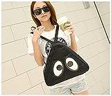 Fortuning's JDS® Causal lienzo mochila negro honda mochila con dos ojos