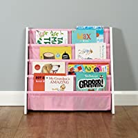 Roost White & Pink Kids Book Storage Rack with 4 Storage Pockets