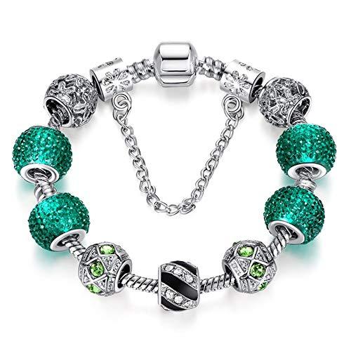 Bracelet Femme,Accessoires Perles Vert Cristal Plaqué Argent Bracelet Trèfle À Quatre Feuilles avec Charme Perles Bracelet Bangle pour Les Femmes DIY Bijoux 925,La Plus Parfaite des Vêtements Ave