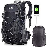 CX/&LL Mochila de Senderismo 70+5L con Cubierta Impermeable Mochila de Marcha Trekking Camping Deporte al Aire Libre Negro