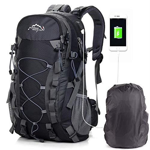 Sacs De Trekking Voyage Grande Capacité Sacs à Dos De Randonnée Pour Femme Homme Les En Plein Le Camping Alpinisme Outdoor Backpack USB Sac à Dos Multifonction Résistant à L'Eau 40L Noir