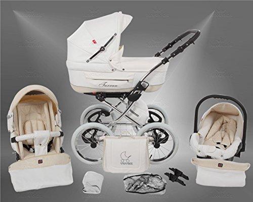 True Love Classic One Plus Kinderwagen Safety-Set (Autositz & ISOFIX Basis, Regenschutz, Moskitonetz, Speichenluftreifen) 01 Eco White