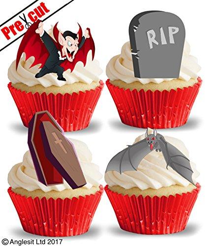 Vorgestanzte Vampir- und Zubehörartikel essbares Reispapier, Cupcake-Topper, Halloween-Party-Dekorationen