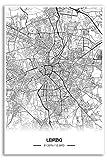 Zulumaps Poster 40x60cm Stadtplan Leipzig - Hochwertiger