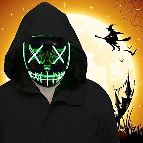 Amigo S.L Máscara de Halloween, Led Mascaras para Navidad Halloween Cosplay Grimace Festival Fiesta Show (Azul)