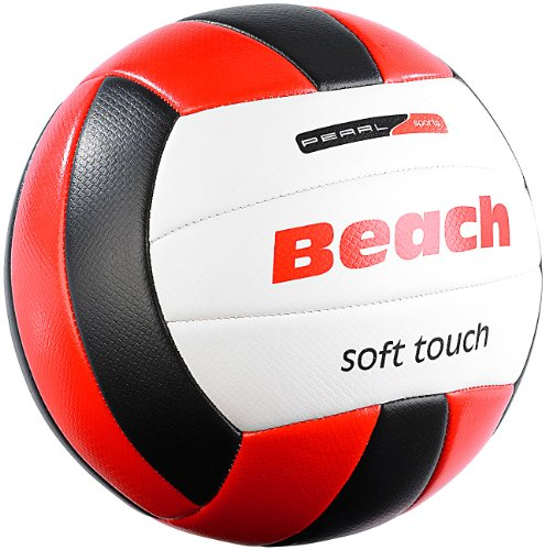 PEARL sports Volleyball: Beachvolleyball mit griffiger Soft-Touch-Oberfläche aus Kunstleder (Beach Volleybälle)