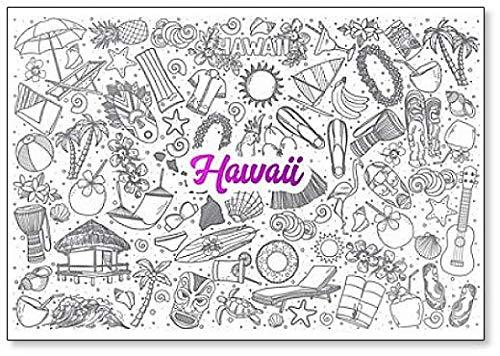 Hawaii Doodle Set, handgezeichneter Hintergrund mit violetter Schrift, Kühlschrankmagnet