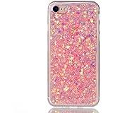 iPhone 7 funda cáscara teléfono, MUTOUREN Diseño exclusivo moda TPU gel de silicona suave lentejuelas concha - rosa
